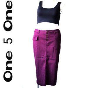 One 5 One Burgundy Skirt  - Size Large